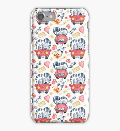 Watercolor cats in just married red car and brush lettering xoxo iPhone Case/Skin