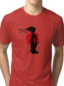 Japanese Samurai with Afro Tri-blend T-Shirt