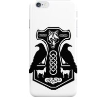 Thor's Hammer with Ravens iPhone Case/Skin