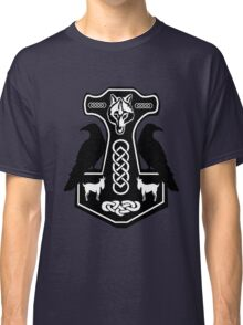 Thor's Hammer with Ravens Classic T-Shirt