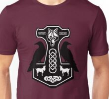 Thor's Hammer with Ravens Unisex T-Shirt