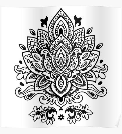 Black bohemian pattern mandala Poster