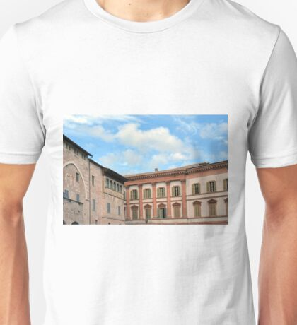 Old buildings in the central square in Foligno, Italy Unisex T-Shirt