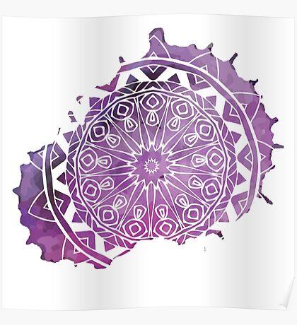 Purple Watercolour Mandala Pattern Poster