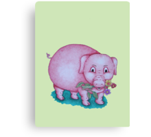 Cute piggy with  flowers illustration Canvas Print