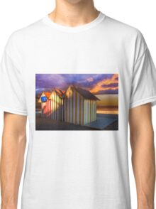 Beach huts and stormy sky at sunset Classic T-Shirt