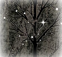 Tree with empty branches in dark cold night  by ankka