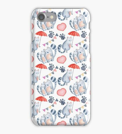 Watercolor cats couple with red umbrella iPhone Case/Skin