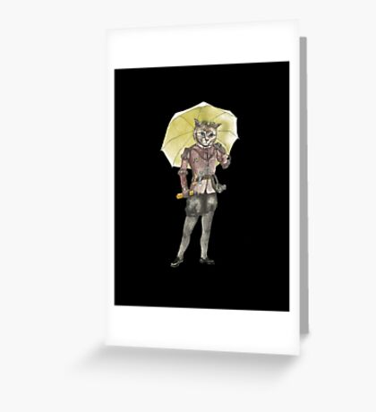 Steampunk Yellow Umbrella Cat with Goggles and Mask Greeting Card
