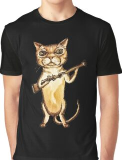 Steampunk Monster Cat with a Rifle Graphic T-Shirt