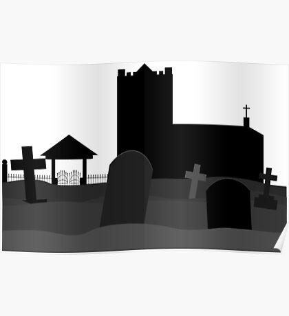 Spooky graveyard. Poster