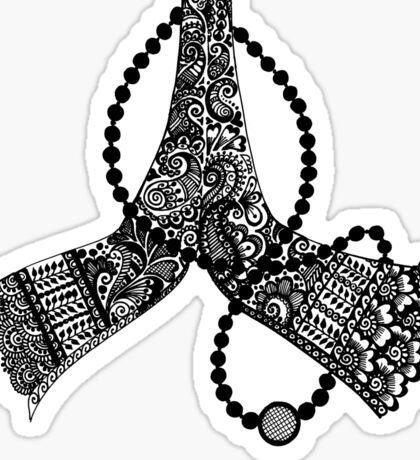 Hennacat Hennaed Hand #2 (B&W and Colour me in) Sticker