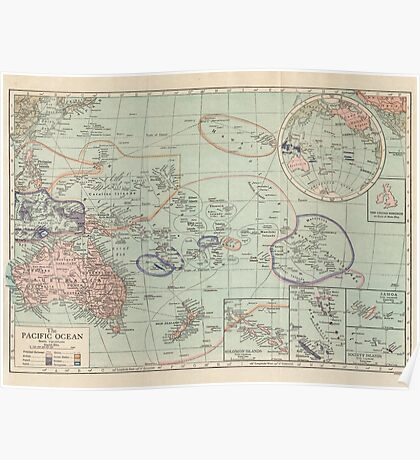 The Pacific Ocean Antique Maps Poster