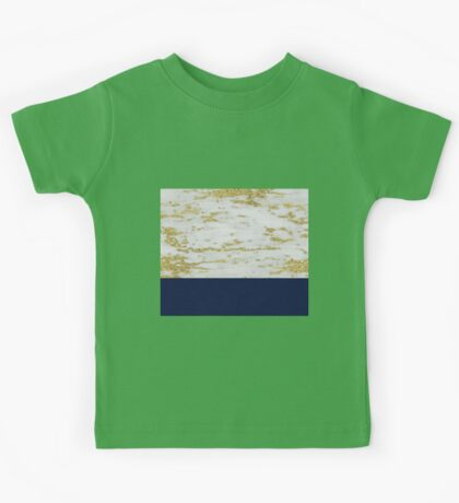 Faraldi gold marble and French navy Kids Tee