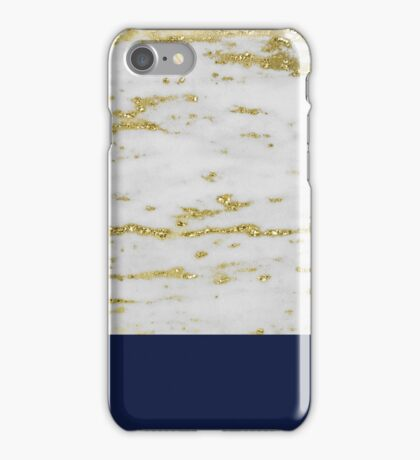 Faraldi gold marble and French navy iPhone Case/Skin