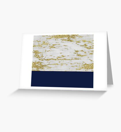 Faraldi gold marble and French navy Greeting Card