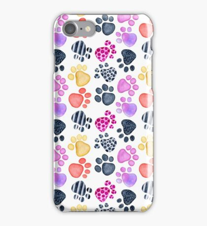 seamless pattern with footprints watercolor iPhone Case/Skin