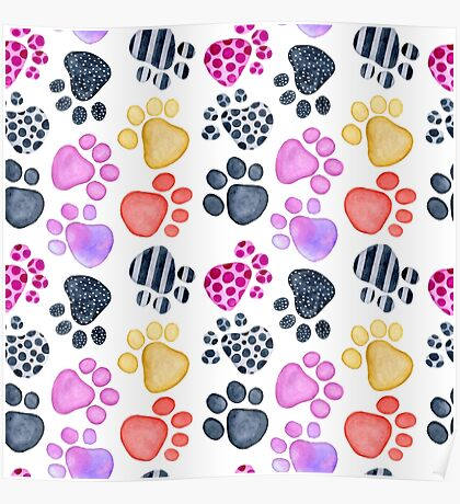seamless pattern with footprints watercolor Poster