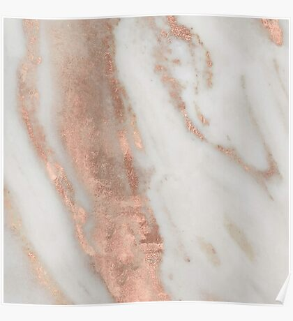 Marble - Rose Gold Shimmery Marble Poster