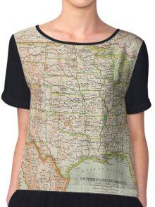 USA Antique Maps Chiffon Top