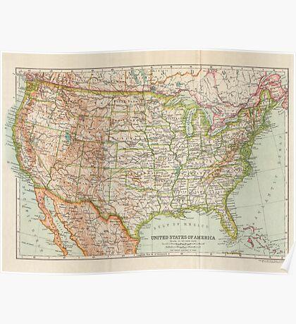 USA Antique Maps Poster