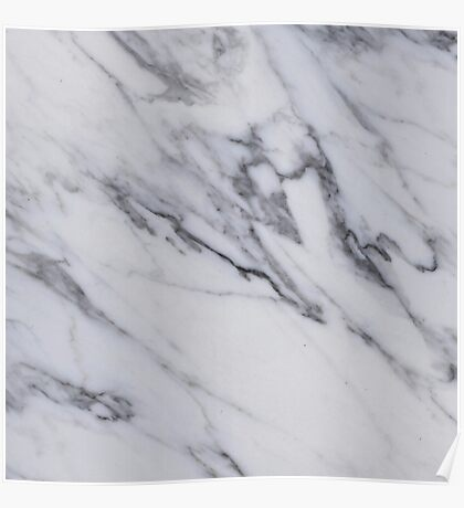 Marble - Black and White Gray Swirled Marble Design Poster