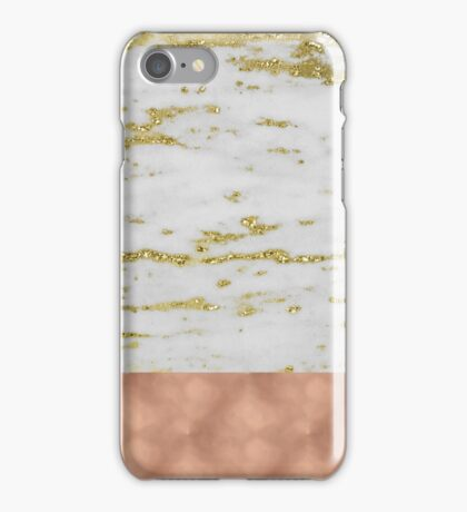 Faraldi gold marble and rose gold foil iPhone Case/Skin
