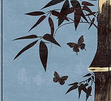 Brown bamboo butterfly blue  by dezigraf