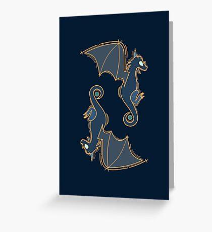 Royal Blue Dragons  Greeting Card