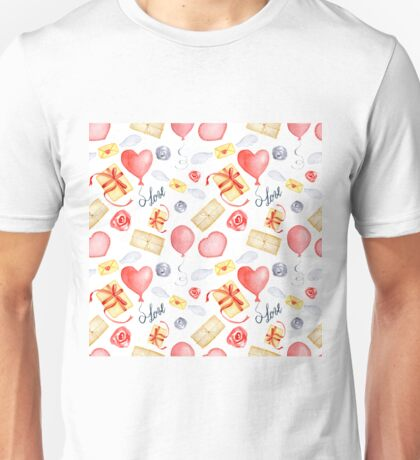 Watercolor Valentine's Day print Unisex T-Shirt
