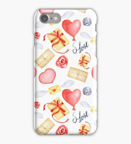 Watercolor Valentine's Day print iPhone Case/Skin