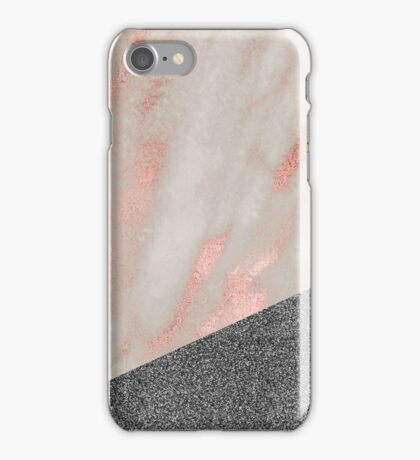 Rose gold marble - charcoal sparkle iPhone Case/Skin