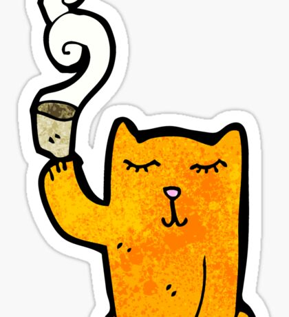 cartoon little cat with tea cup Sticker