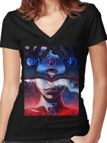 Create and Destroy Women's Fitted V-Neck T-Shirt