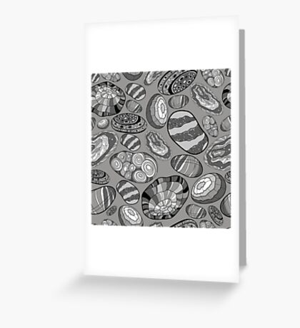 Pattern with decorative stones in black, white and gray colors Greeting Card
