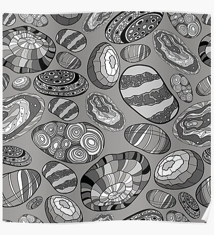 Pattern with decorative stones in black, white and gray colors Poster