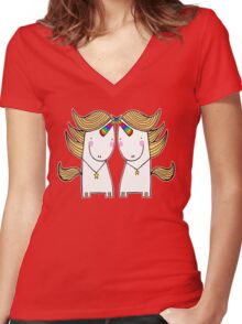 Uni and Una  Women's Fitted V-Neck T-Shirt