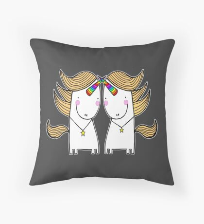 Uni and Una  Throw Pillow