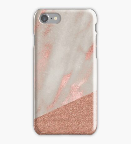 Rose gold marble - peach sparkle iPhone Case/Skin