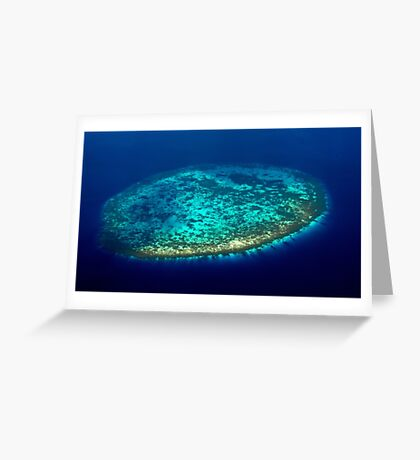 Aerial view to Maldivian coral reef Greeting Card