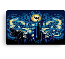 Dark Blue Starry Knight Abstract Canvas Print