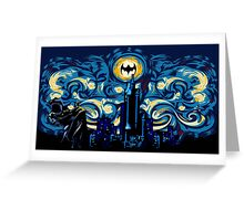 Dark Blue Starry Knight Abstract Greeting Card