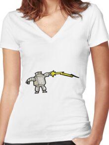 cartoon robot Women's Fitted V-Neck T-Shirt