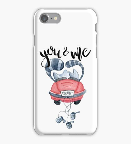 Watercolor cats in just married red car and brush lettering you and me  iPhone Case/Skin