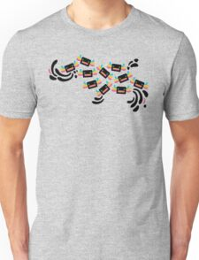 Cute Black and Rainbow Axolotls and Whirls on Grey Background Unisex T-Shirt