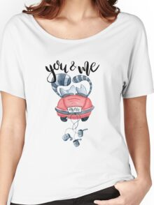 Watercolor cats in just married red car and brush lettering you and me  Women's Relaxed Fit T-Shirt