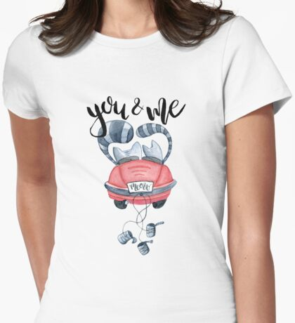 Watercolor cats in just married red car and brush lettering you and me  Womens Fitted T-Shirt