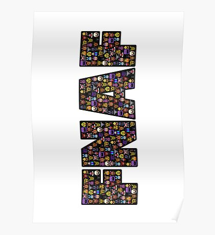 Five Nights at Freddys - Pixel art - FNAF typography (Black BG) Poster