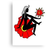 Faerie Silhouette on a Flower Canvas Print