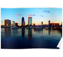 Downtown Jacksonville at Sunset Poster